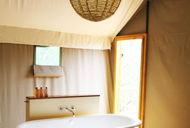 Luxury tree top tent bathroom