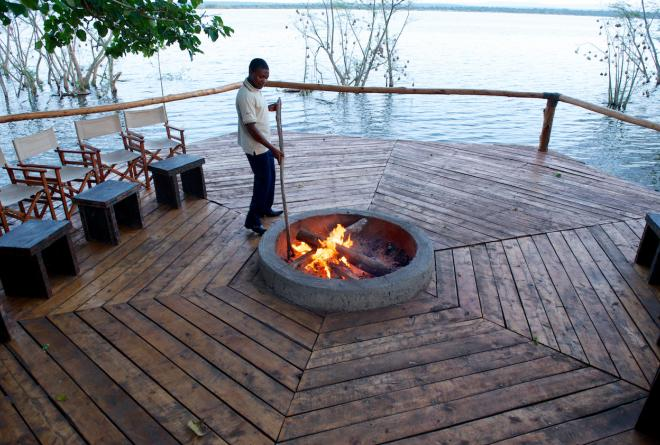 Fireplace deck