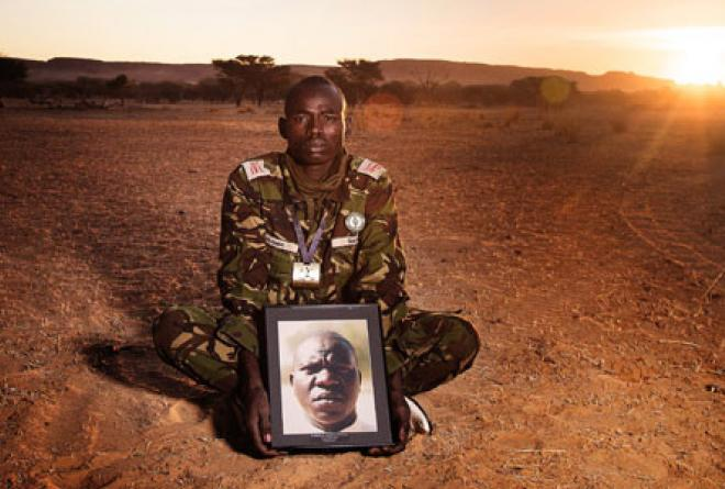A ranger pays tribute to one of the rangers assassinated in 2012.