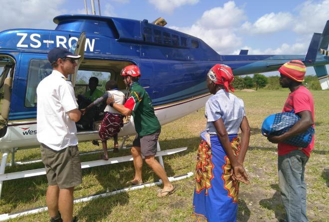 Helicopter Beira relief efforts